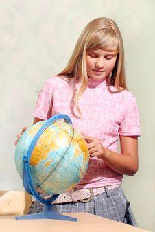 Schoolgirl & Globe Stock Images