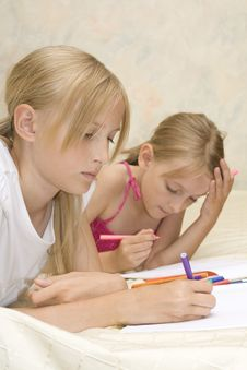 Free Two Sisters Do Homework Stock Image - 6107711
