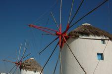Free Windmills In Mykonos, Greece Stock Image - 6108431