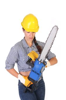 Free Beauty Woman With Chainsaw Stock Photography - 6108742