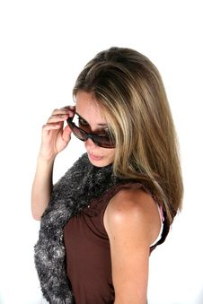 Teen With Scarf And Sunglasses Royalty Free Stock Photo