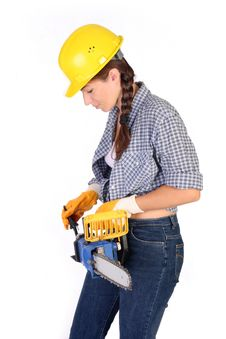 Free Beauty Woman With Chainsaw Royalty Free Stock Image - 6109086