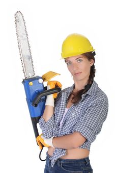 Free Beauty Woman With Chainsaw Royalty Free Stock Image - 6109196