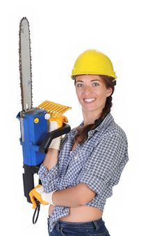 Free Beauty Woman With Chainsaw Stock Photography - 6109522