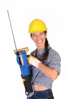 Mad Woman With Chainsaw Royalty Free Stock Photo