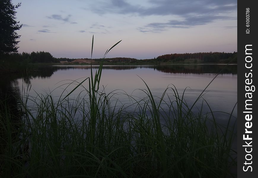 The late evening sunset over the lake
