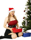 Free Mrs Santa Receiving Gift Royalty Free Stock Photos - 6112818