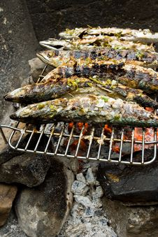 Grilled Fishes On Hot Grill Royalty Free Stock Photo