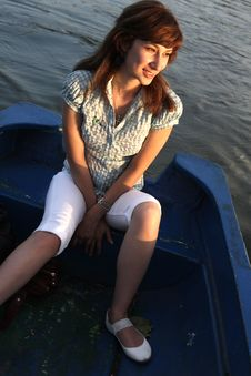 Free Girl Rowing Boat Royalty Free Stock Image - 6112736