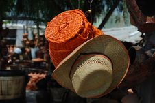 Hand Made Wicker Basket And Hat Royalty Free Stock Images