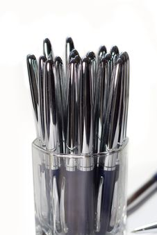 Free Glass Glass With Pens Stock Image - 6114311
