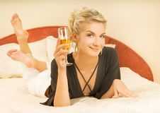 Free Lady Lying In A Bed Royalty Free Stock Photos - 6114488