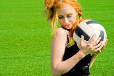 Beautyful Model Keeping Ball Stock Images