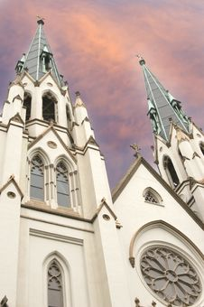 Free Cathedral With Surreal Red Sky Royalty Free Stock Photo - 6117505