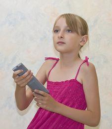 Free Little Girl Pushing Button Stock Photos - 6117733