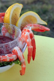 Shrimp Cocktail Served Outdoors Royalty Free Stock Image