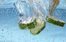 Cucumbers Splash Royalty Free Stock Images