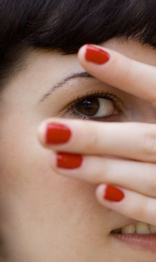 Looking Through Fingers Royalty Free Stock Photo