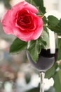 Free Red Rose On Red Wine Glass Bright Background Stock Photo - 6120030
