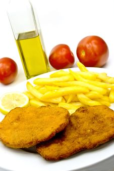 Cutlet,breaded-with French Fries Stock Images