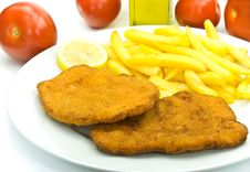 Free Cutlet,breaded-with French Fries Royalty Free Stock Photography - 6120037
