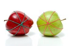Free Two Apples In Rubber Bands Stock Images - 6120174