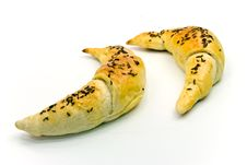 Croissants With Caraway Seeds.close Up Shot Royalty Free Stock Photos