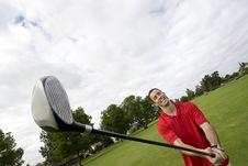 Free Man With Golf Club - Horizontal Royalty Free Stock Photos - 6120638