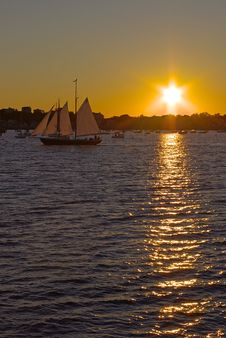 Free Sailboat In Sunset Royalty Free Stock Image - 6120676