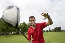Free Man With Golf Club - Horizontal Royalty Free Stock Image - 6120886