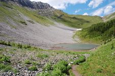 Alpine Lake And Meadows Stock Photos