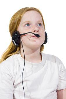 Free Little Girl Wearing Headset Stock Image - 6123701