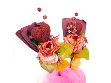 Free Two Paper Flower Art With Candy Floss Royalty Free Stock Photo - 6124985