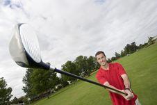 Free Man Holding Golf Club - Horizontal Stock Image - 6125661