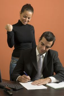 Businessman And Secretary - Vertical Royalty Free Stock Images