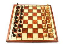 Wooden Chess On Wooden Chessboard Royalty Free Stock Photos