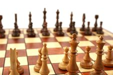 Free Wooden Chess On Wooden Chessboard Stock Photos - 6126653