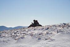 Free Silhouetas Of Girls In Winter Mountains Stock Photos - 6127423