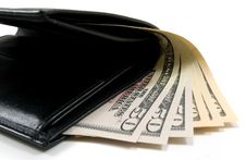 Free Black Leather Wallet With American Dollars Stock Photography - 6128702