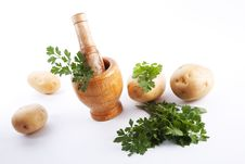 Free Mortar And Pestle With Herbs Stock Image - 6128711