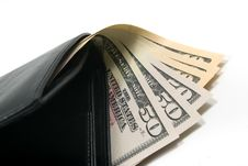Free Black Leather Wallet With American Dollars Royalty Free Stock Image - 6128716