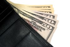 Free Black Leather Wallet With American Dollars Royalty Free Stock Images - 6128739