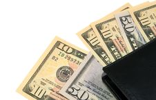 Free Black Leather Wallet With American Dollars Royalty Free Stock Photos - 6128748
