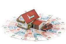 Free Miniature House And Money. Stock Image - 6129871