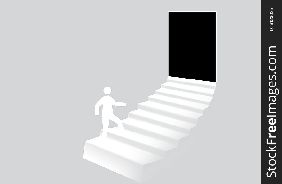 Stairway leads to door