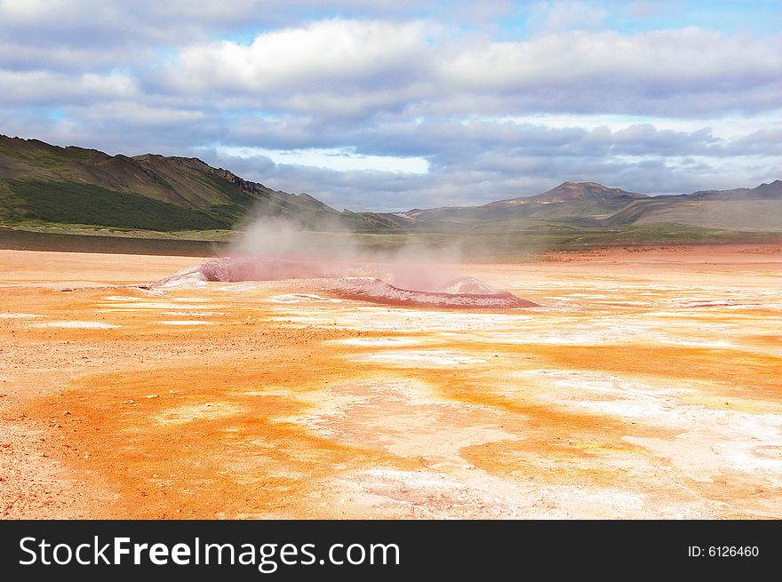 Hot steam from two sulphur pools