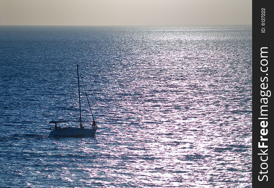 Small yacht in the sea