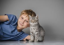 Happy Boy With Little Kitten Royalty Free Stock Images