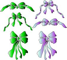 Mutlicolored Ribbons And Bows Royalty Free Stock Photo