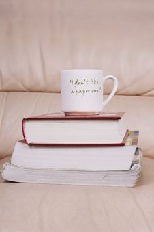 Free Cup Of Coffee On Book Stock Photos - 6131763